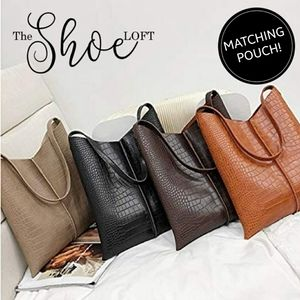 Croc Embossed Hobo Tote and Pouch Set